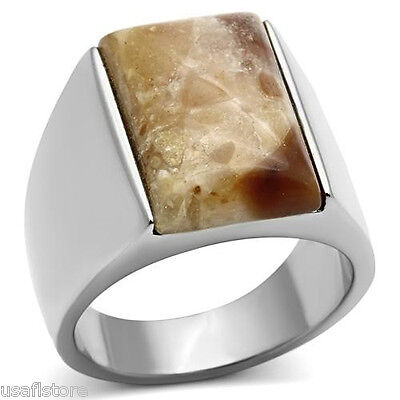 (Mens Semi-Precious Agate Stone Silver Stainless Steel Ring)