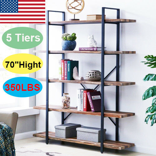 Tier Wood Leaning Ladder Shelf Bookcase