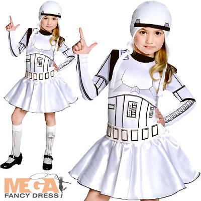 Stormtrooper Girls Fancy Dress Star Wars Sci-Fi Film Villain Kids Costume Outfit