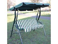 3 Seater Swing Garden Hammock Cushioned Bench Chair GREEN/WHITE