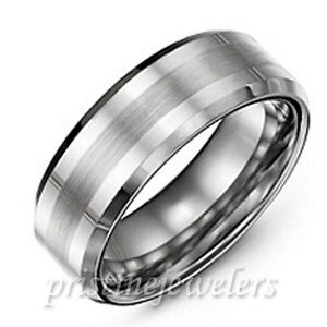 Tungsten Carbide Wedding Band Ring Brushed Silver Mens Jewelry Size 6-14 + Half