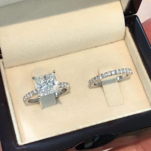 Ring - Certified 2.50CT Princess Cut Diamond Engagement Wedding 14K White Gold Ring Set