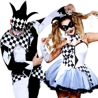Scary Jesters Adults Fancy Dress Halloween Scary Horror Carnival Circus Costumes (Scary Women Halloween Costumes)