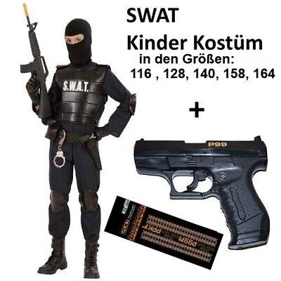 Agent P Kostüm (Polizei Kinder Kostüm SWAT Agent Officer mit Knallpistole P99 + Munition)