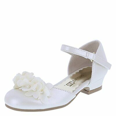 "Smart Fit Toddler/ Girls Pearlized Ivory/White ""Cici Flower Heel"" Dress Shoes ](Ivory Girls Dress Shoes)"