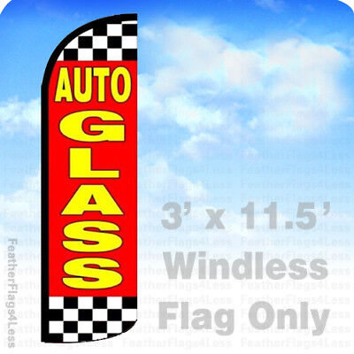 Auto Glass - Windless Swooper Flag Feather Banner Sign 3x11.5 Rq075