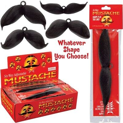 Fake Mustache Handlebar Curly Classy Facial Hair Black Cowboy 6 Way Adjustable