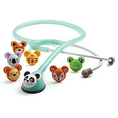 Adscope 618 Seafoam Adimal Pediatric Stethoscope Interchangeable Animal Faces