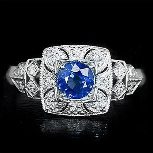 NATURAL ROYAL BLUE SAPPHIRE ART DECO DIAMOND ENGAGEMENT COCKTAIL VINTAGE RING