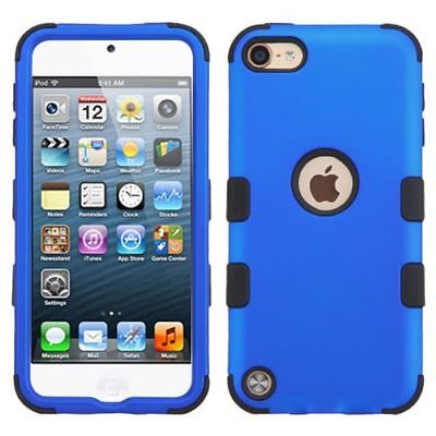 For Apple iPod Touch 5th Gen/6th Gen Blue Black Tuff Hard Hybrid Case Cover
