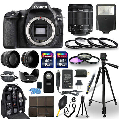 Canon EOS 80D SLR Camera + 18-55mm STM Lens + 30 Piece Accessory Bundle