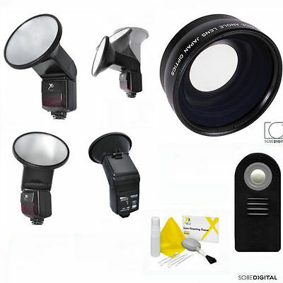 WIDE ANGLE LENS + PRO FLASH + REMOTE FOR CANON REBEL SL1 T3I T5I T6I XSI T3 (Cheap Ultra Wide Angle Lens For Canon)