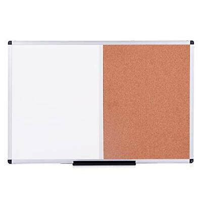 VIZ-PRO Magnetic Dry Erase Board and Cork Notice Board Combination, 36 X 24 Inch](dry erase board and cork board combo)