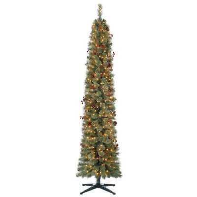 Home Heritage Stanley 7' Skinny Pine Pre Lit & Decorated Christmas Tree -