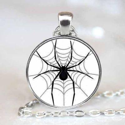 SPIDER WEB BLACK HALOWEEN  pendant Silver 20
