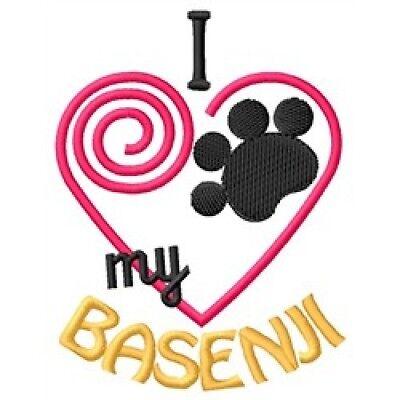 "I ""Heart"" My Basenji Long-Sleeved T-Shirt 1308-2 Size S - XXL"