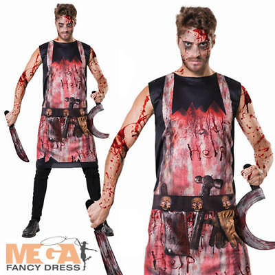 Bloody Butcher Apron Mens Fancy Dress Gory Horror Adults Halloween Costume Tunic