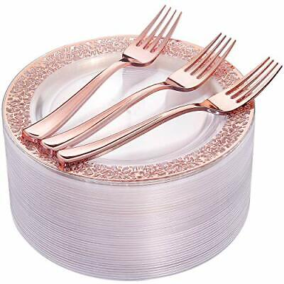 """Rose Gold Dessert Plates 7.5"""" & 72 Pieces Rose Gold Plates Disposable Forks New"""