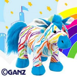 Webkinz Rainbow Zebra HM486 NEW with attached UNUSED code FREE Shipping!!!