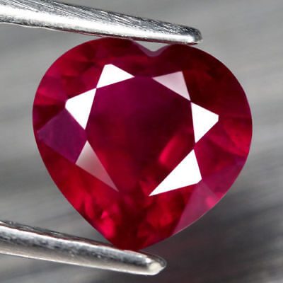 LARGE 10mm HEART-FACET STUNNING HOT-RED RUBY GEMSTONE