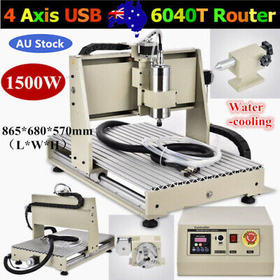 1.5kw 4 Axis 6040 Cnc Router Engraver Woodworking Engraving Milling Machineusb