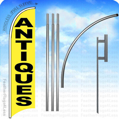 Antiques - Windless Swooper Feather Flag 15 Kit Banner Sign Tall Yb