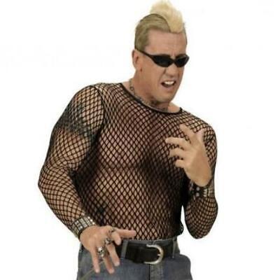 Netzhemd schwarz Rocker Kostüm Netzshirt Herren Gr XL/XXL - Rocker Kostüm