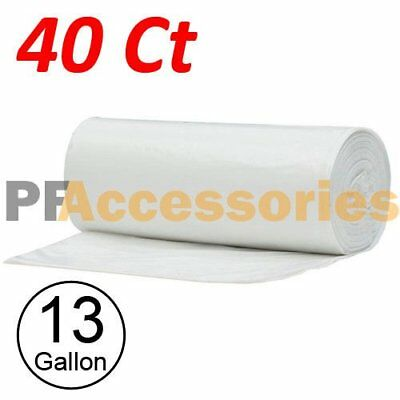 40 Strong 13 Gallon Commercial Kitchen Trash Bag 13 Gal Garbage Bag Yard (Clear)