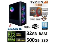Ryzen 5 3600 RTX 2070 SUPER High End Gaming PC + Free Games