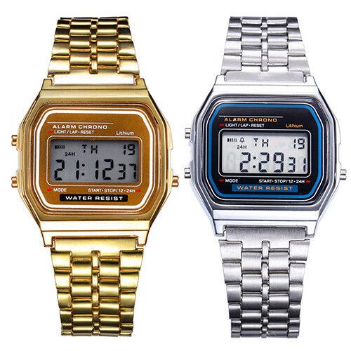 ASAMO Herren Damen Digital Armbanduhr mit Metall Armband LED Quartz Retro Uhr