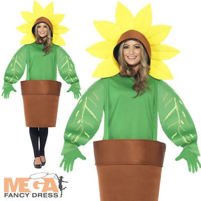 Sunflower Adult Costume (Sunflower Costume Adults Fancy Dress Fun Summer Plant Mens Ladies Costume)