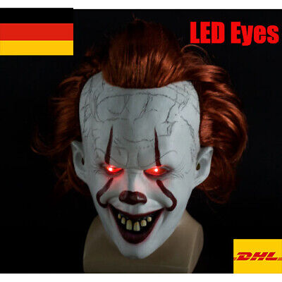 LED Cosplay Kostüm Es Maske Pennywise Horror Clown Joker for Halloween play DE