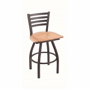 Xl 410 Jackie 36 Bar Stool With Pewter Finish Natural Oak Seat And