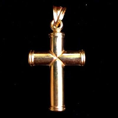 Italian Christian Cross 14K Yellow Gold Layer Over 925 Sterling Silver Pendant