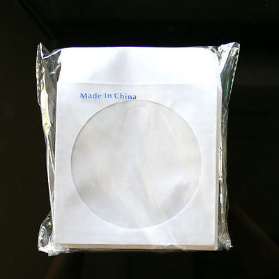 100 Paper Sleeve Envelope with Clear Window & Flap for CD DVD White 80g