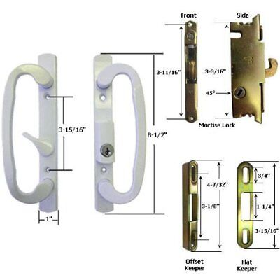 Patio Sliding Door Handles - STB Sliding Glass Patio Door Handle Kit with Mortise Lock and Keeper, White, Key