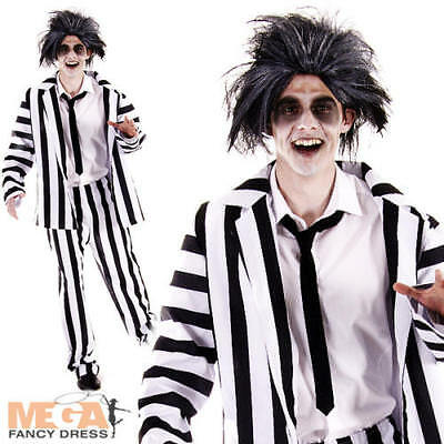 Crazy Ghost Mens Fancy Dress Movie Halloween Black & White Striped Suit Costume - Black And White Movie Halloween Costume