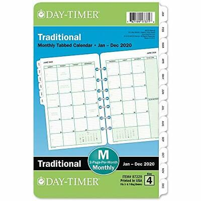 Day-timer 2020 Monthly Planner Refill 5-12 X 8-12 Desk Size 4 Two Pages P...