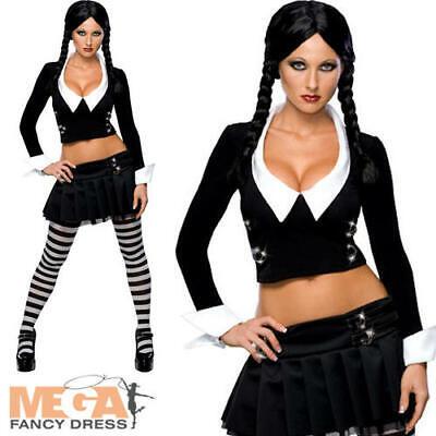 Sexy Wednesday Addams Ladies Fancy Dress Adams Family Adults Halloween Costume ](Adult Wednesday Adams)