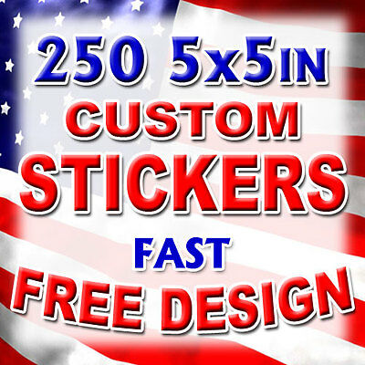 250 5x5 Custom Printed Full Color Outdoor Vinyl Car Bumper Sticker Decal Die Cut