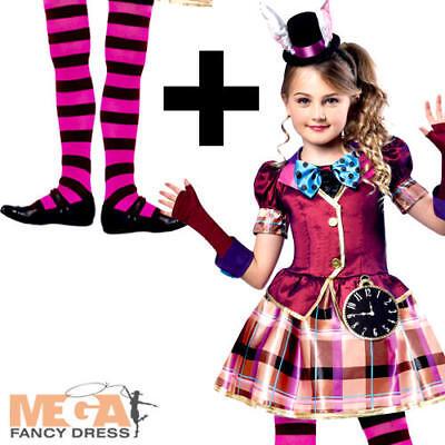 Miss Mad Hatter + Tights Girls Fancy Dress Fairy Tale Book Day Week Kid Costume