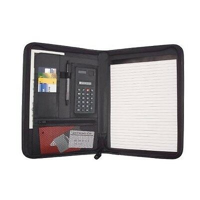 Business Zippered Padfolio w Calculator, Notepad Organizer Leatherette Black