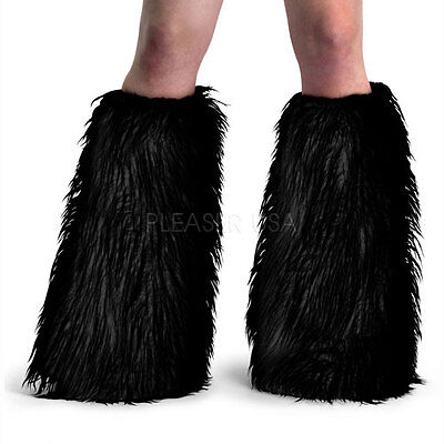 Yeti-01 Sexy Faux Fur Black Leg Warmers Boot Covers Gogo Dancer Rave Raver Wear](Faux Fur Boot Covers)