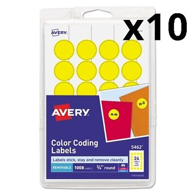 Printable Self-adhesive Removable Color-coding Labels 0.75 Dia. Yellow