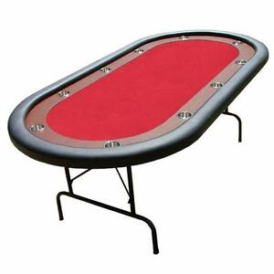NEW Brybelly GTAB-002 Red Felt Poker Table with Dark Wooden Race Track and 10 Cup Holders
