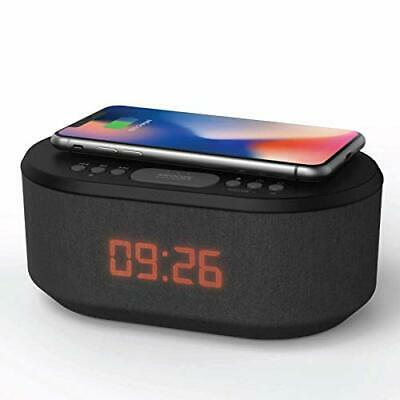 Bedside Radio Alarm Clock with USB Charger, Bluetooth Speaker, QI Black