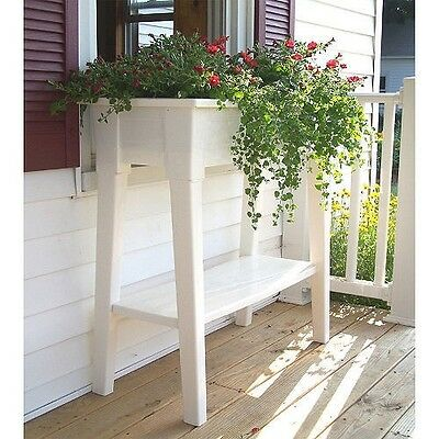 White Outdoor Patio 36  Deluxe Large Garden Planter Flower Box Stand With Shelf