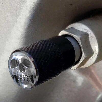 4 Vivid Black Billet Knurled Tire Air Valve Stem Caps PUNISH CHROME SKULL FACE B Billet Valve Stem Cap