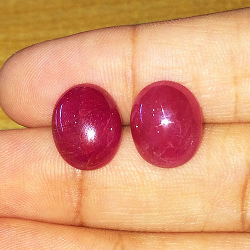 17.6cts Earth Mined Natural Unheated  Br Ruby Earing Pair Loose Gemstone