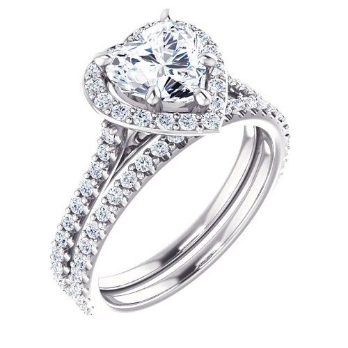 100% Natural GIA 1.88 Ct. Heart Cut Halo Pave Diamond Engagement Bridal Set 14K
